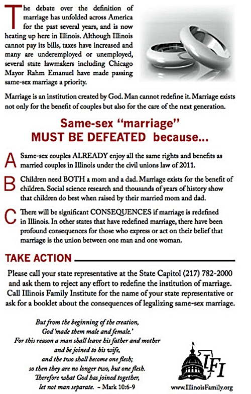 Illinois Family Institute - Gay Marriage