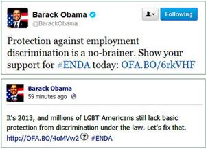 Obama Tweets Support for ENDA
