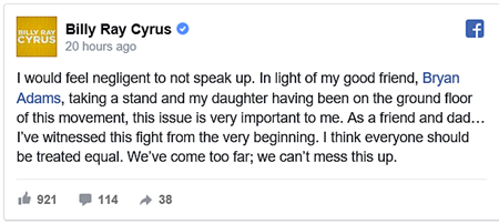BAchey Breaky Heart: Billy Ray Cyrus Speaks Out Against NC and MS Anti-LGBT Lawsilly Ray Cyrus