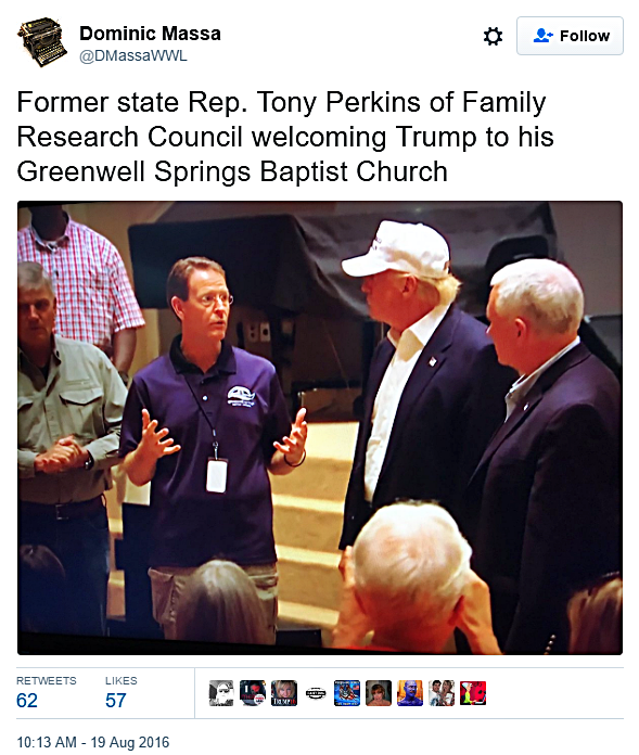 Trump Visits Louisiana, Meets With FRC Waterlogged Hate Group Leader Tony Perkins and Gives Out Play Doh
