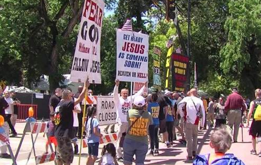 """""""Christian"""" Terrorist Protest and Scream Anti-Gay Abuses at PRIDE Opening at Salt Lake City Club"""